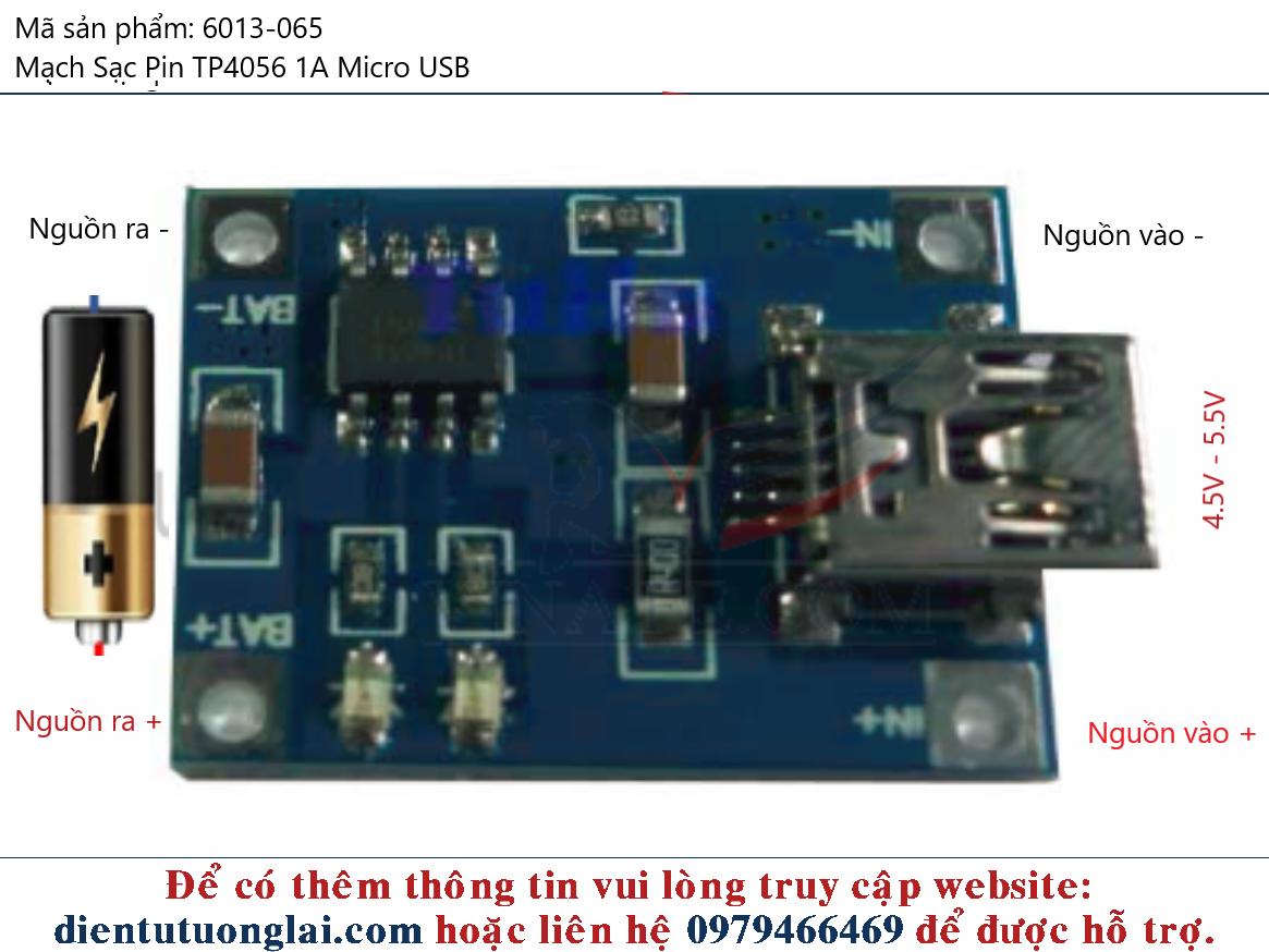 Mạch Sạc Pin 1A Có Bảo Vệ TP4056